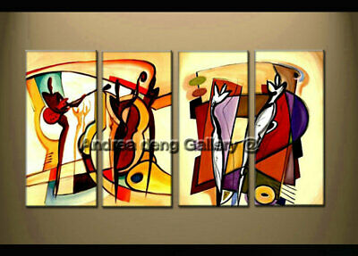 Large Framed Modern Music Dance Abstract Oil Painting on Canvas Wall Art Decor