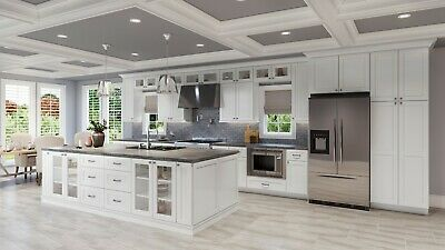 RTA All Wood 10X10 Classic Contemporary Shaker White Kitchen Cabinets Soft-Close