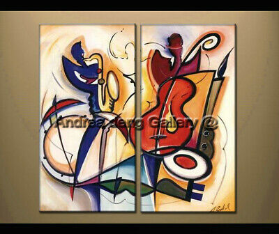 Framed Large Modern Music Dance Abstract Oil Painting on Canvas Wall Art Decor