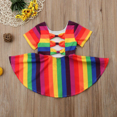AU Canis Toddler Infant Kids Girls Rainbow Summer Casual Dress Sundress Clothes