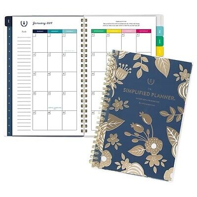 "2019 EMILY LEY 8""x11"" MONTHLY PLANNER Navy Blue Floral LARGE Desk"