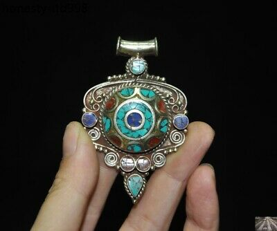Fine Tibet folk silver Filigree inlay Turquoise Amulet periapt necklace Pendant