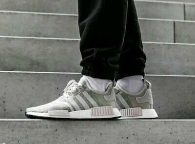 17bd3c24ee931 Adidas NMD R1 Mens B76079 Sesame Chalk Pearl Mesh Boost Running Shoes Size  11.5