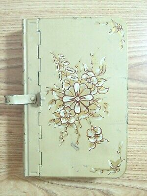 VINTAGE BOOK BOX Floral Tin Hinged Safe Storage Shelf Shaped Like A Book