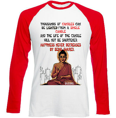 Buddha Happiness Quote - New Red Sleeved Tshirt