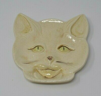 Vintage Hand Painted Cat Face Plate