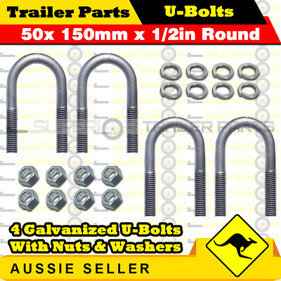 4 x U-Bolts 50mm x 150mm Round with Nuts Galvanized Trailer Box Boat Caravan
