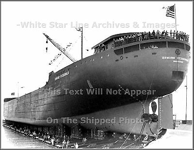 Photo: SS Edmund Fitzgerald Moments Before Launch - River Rouge, Michigan, 1958