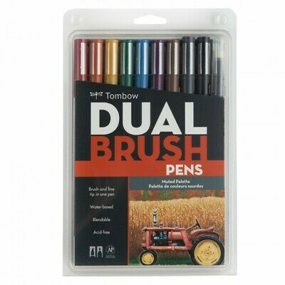 Tombow Dual Brush Pens Set of 10 - Muted Palette Colors