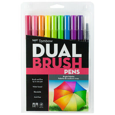 Tombow Dual Brush Pens Art Markers Fine Brust Tip ABT Set of 10 Bright Pallette