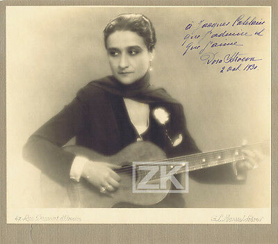 DORA STROEVA Homosexuelle Gay Tango Guitare AUTOGRAPHE Photo 1930