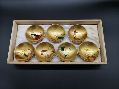 Japanese 5 Lacquer Small Dip Sauce Wooden Bowl Plate Gold Gilt Wood Box