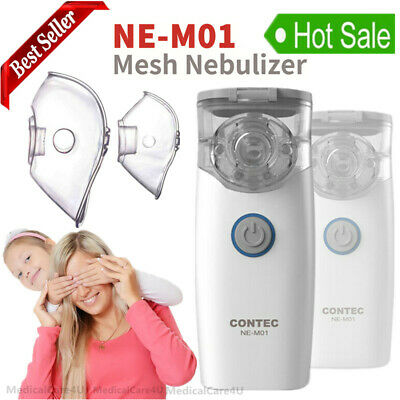 Portable Mesh Ultrasonic Nebulizer Mini Inhaler Respirator Adult Kid 2 Masks
