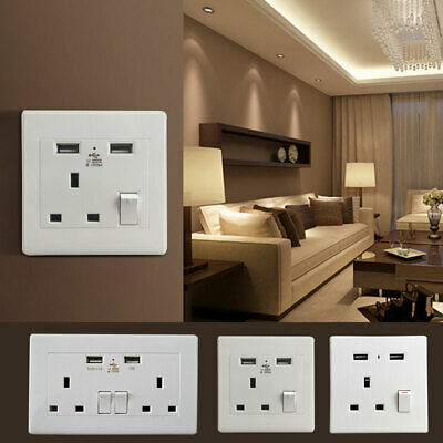 Double Wall Plug Socket 2 Gang 13A with 2 USB Ports Screwless Slim Flat Plate