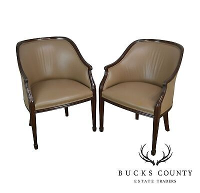 Smith & Watson Mahogany & Tan Leather Hepplewhite Style Pair Tub Chairs