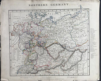 Antique Map NORTHERN GERMANY c1828 by A. Arrowsmith original outline colour