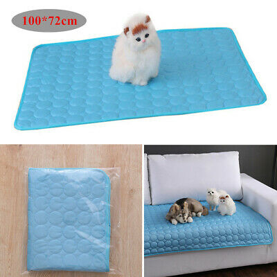 Blue Pet Cooling Mat Heat Relief Bed Cushion Pad Car Seat Chair Cover 100*72cm