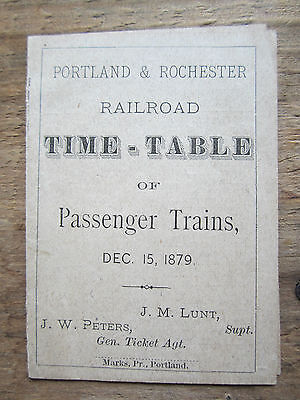 Antique Book Pamphlet Maine Time-Table 1879 Portland-Rochester Railroad