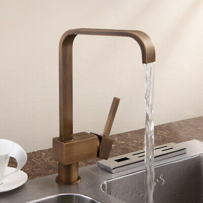 Vintage Square Single Hole 1-Handle Kitchen Sink Faucet Antique Brass Mixer Tap