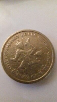 rare 1 pound coin isle of man millenium bells circulated