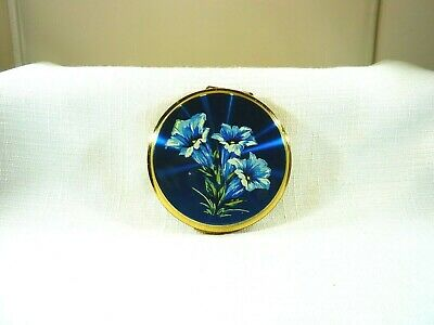 Vintage Stratton PAT 764125 England Blue Floral Gold Tone Compact