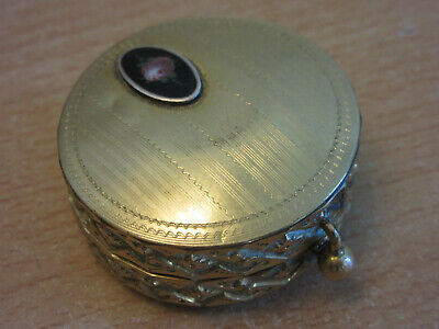 Antique 1900's Gold Filled fancy Ladies small mirrored compact, painted enameled