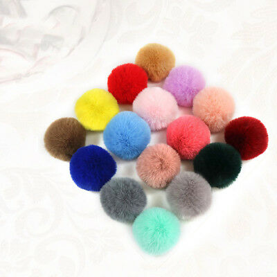 2 PCS DIY Pretty Small PomPom Fur 6cm Faux Rex Fur Pom Poms For Hats Accessories