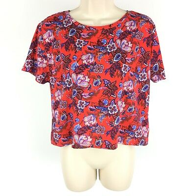 e93b04d4f Forever 21 Crop T-Shirt Tee Size Medium Women's Red Blue Floral Short  Sleeve NWT