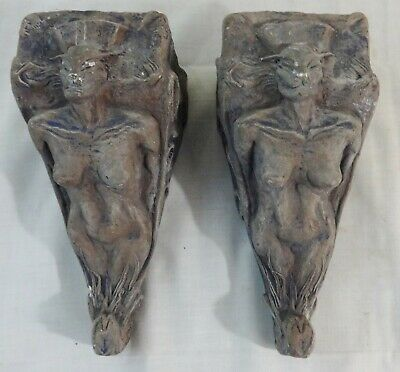 Contemporary Pair of Plaster Corbels Macabre Demon Depiction Signed & Dated