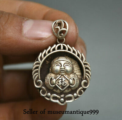 3.5CM Old Chinese Miao Silver Dynasty Tongzi Boy Blessing Pendant necklace