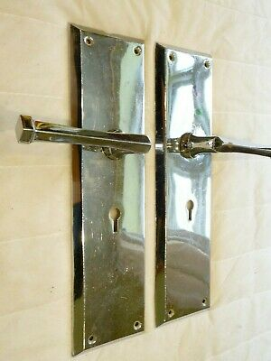 Antique Art Deco Chromed Brass Lever Door Handles And Back Plate Yale Keyhole