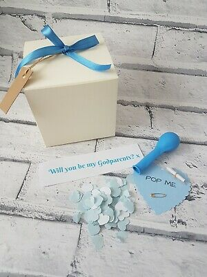 Will you be my Godparents, Pop the balloon christening, personalised keepsake,