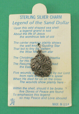 "Sterling Silver Charm ""Legend of the Sand Dollar"" Carded Monterey Bay Aquarium"