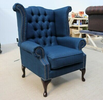 Georgian Chesterfield Queen Anne Buttoned High Back Wing Chair Linen Blue Fabric