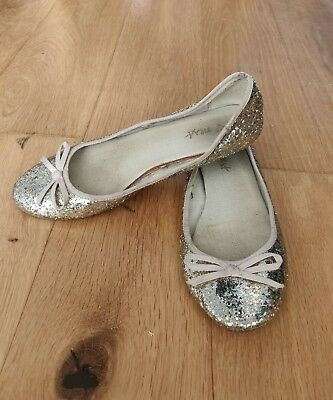 Next Girls Gold Glitter Party Shoes Pumps Size 5