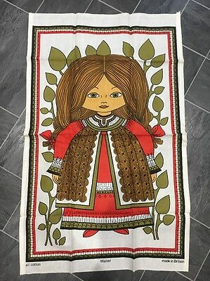 Vintage All Cotton Tea Towel Walver  Peasant Girl - Unused