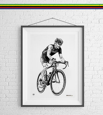 Chris Froome Art Print Poster Cycling Drawing gift