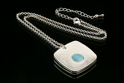 trendy round blue bead square pendant silver plated necklace fashion jewelry U74