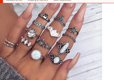 Set 12 Finger And Thumb Rings Very Bohemian Antique Silver All Different (7)