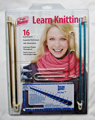 Susan Bates Learn Knitting Kit Needles 16 Projects Hats Scarf Pillows Sweaters