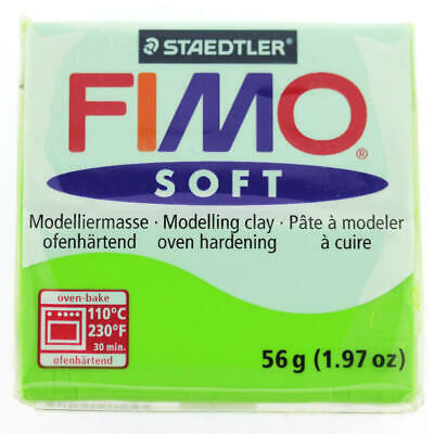 FIMO Soft Polymer Modelling Clay no 50 - Apple Green- Two 56g blocks