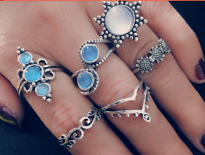 Set 6 Finger And Thumb Rings Very Bohemian Antique Silver+Pretty Blue Stone (9)