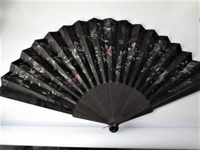 Antique Silk & Ebony Embroidered Fan Late 19th/Early 20th c