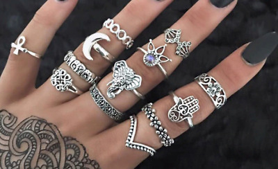 Set 13 Finger And Thumb Rings Very Bohemian Antique Silver All Different (1)
