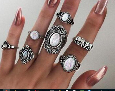 Set 7 Finger And Thumb Rings Very Bohemian Antique Silver 5 Big Stoned Ones (5)