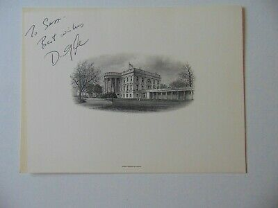 """RARE! """"44th Vice President"""" Dan Quayle Signed White House Etching Mueller COA"""