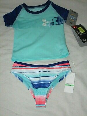 b380badf99216 Girls Under Armour Rash Guard Swimsuit 2 Pc Tropical Tide Blue Nwt 18 Months