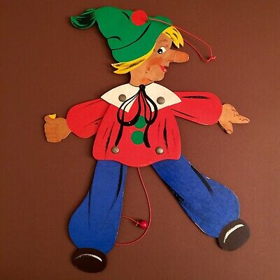 1950er RAVI-KUNST Kasper 38cm Holz-Hampelmann DEUTSCH+Hampelt #germanwallfigures