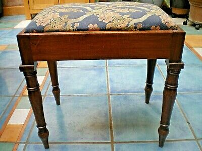 Antique Georgian Mahogany Stool Decorative Wood Floral Seat Collect Leics Le8