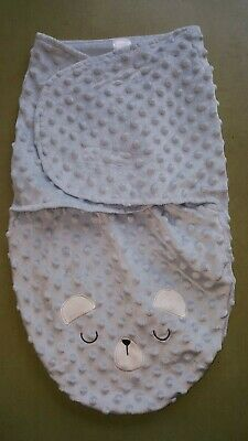 Kyle & Deena 0-3 months baby blue fleece swaddle sack with bear face